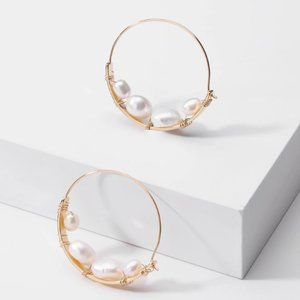 Anthropologie Earrings Pearl Hoop Minimalist